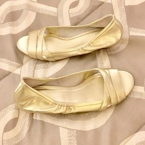 """Cole Haan Nike Air """"Elly"""" Gold Wedges"""